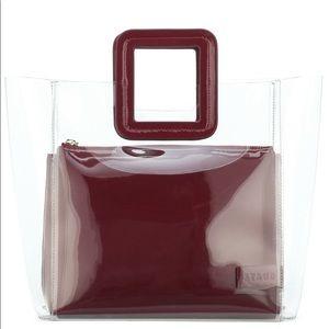 Staud Burgundy Shirley Large Tote Bag PVC